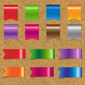 Web Color Ribbons Big Set With Cork — Stock Vector