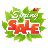 Spring Sale Poster With Leaf — Stock Vector