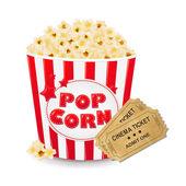 チケット映画館と段ボール箱のポップコーン — ストックベクタ