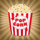 Popcorn In Cardboard Box With Sunburst — Stock Vector