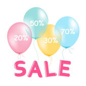 Sale Poster With Pastel Balloons — Stock Vector