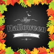 Halloween Frame With Leaves — Stock Vector