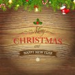Xmas Wood Background — Vector de stock #34957645