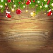 Stock Vector: Xmas Wood Background