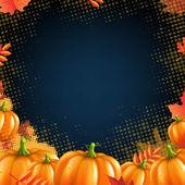 Autumn Pumpkins Frame — Stock Vector