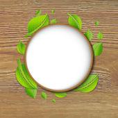 Abstraktní zelených listů nápis — Stock vektor