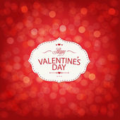 Red Valentines Day Card With Bokeh — Stock Vector
