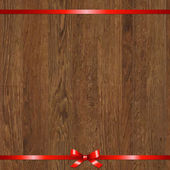 Wood Background With Red Bow — ストックベクタ