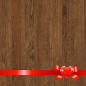Wooden Panel With Red Ribbon — Stock Vector