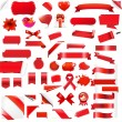 Big Set Red Elements — Stock Vector