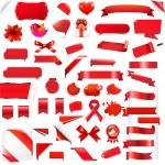 Big Set Red Elements — Stock Vector