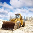 Construction tractor in Dubai Palm island Beach — Stock Photo