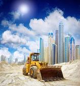 Construction tractor in Dubai — Stock Photo