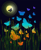 Butterflies in the night — Stock Vector