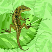 Lizard in the green — Stock Vector