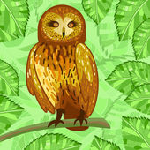 Owl and leaves — Stock Vector