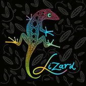 Bright lizard on a dark background — Stock Vector