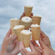 Hands hold ice-cream — Stock Photo