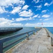 Pontoon jetty and channel of grandcamp normandy — Stock Photo
