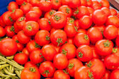 Display of tomatoes at the market — Stock Photo