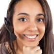 Stock Photo: Portrait of happy smiling cheerful support phone operator