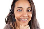 Portrait of happy smiling cheerful support phone operator — Stock Photo