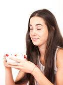 Woman breakfast — Stock Photo