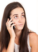 Portrait of a pretty young woman on the phone — Stock Photo