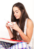 Woman and breakfast — Stock Photo