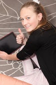 Girl with a digital tablet — Stock Photo