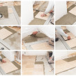 A tiler laying a tiled marble — Stock Photo