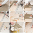 A tiler laying a tiled marble — Stock Photo #47275717
