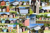 Collage fishermen's houses — Stock Photo