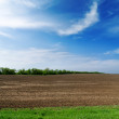 Black spring field and cloudy sky - Stock Photo