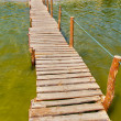 Wooden bridge over water — Stock Photo