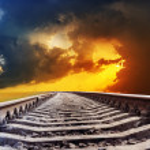 Railroad to dramatic sunset — Stock Photo #13719032