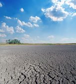 Drought land under cloudy sky — Stock Photo