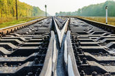Shot of railroad crossroads close up in autumn — Stock Photo