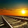 Stock Photo: Sunset over railroad