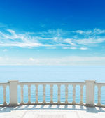 Balcony near sea under cloudy sky — Stock Photo