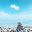 Zen stone stack near sea — Stock Photo