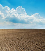 Blue cloudy sky and black plowed field — Stock Photo