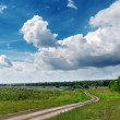 Green landscape with road and cloudy blue sky — Stock Photo