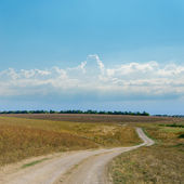 Dirty road and blue cloudy sky — Stock Photo