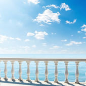 Clouds over sea. view from terrace with balcony — Stock Photo