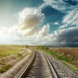 Stock Photo: Railway to horizon in sunset
