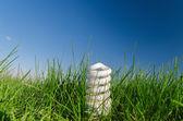 Energy saving bulb in green grass under deep blue sky — Stock Photo