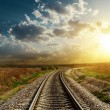 Stock Photo: Railroad goes to horizon in sunset