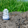 White eco bulb on cracked earth with green grass — Stock Photo