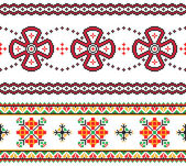 2 seamless embroidered goods like handmade cross-stitch ethnic Ukraine pattern — Stock Vector